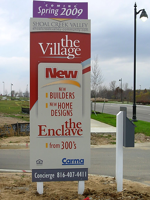 post and panel site sign, digital print, vinyl graphics